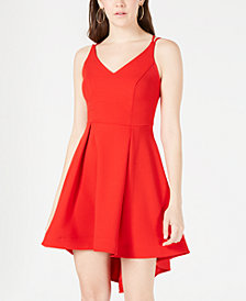 B Darlin Juniors' High-Low Fit & Flare Dress