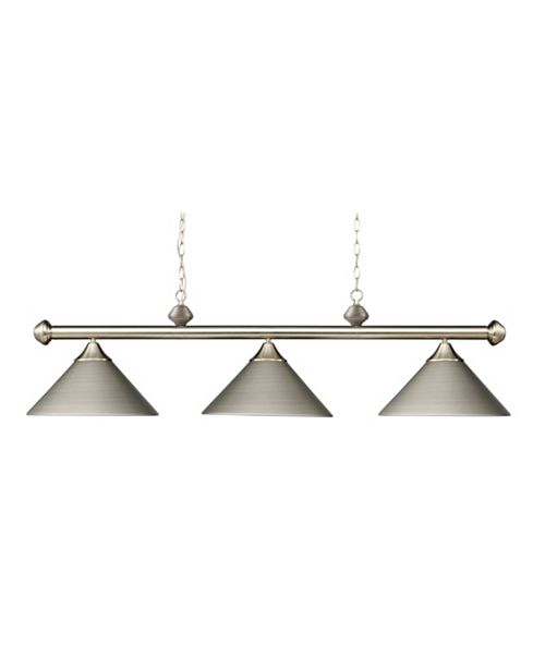 ELK Lighting Casual Traditions 3-Light Satin Nickel Billiard with Metal Shades