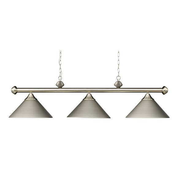ELK Lighting Casual Traditions 3-Light Satin Nickel Billiard with Metal Shades