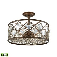 Armand 4 Light Semi Flush in Weathered Bronze with Champagne Plated Crystal