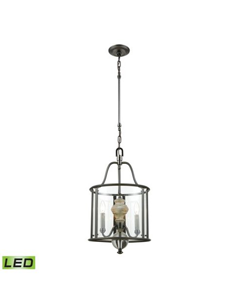 ELK Lighting Neo Classica 3 Light Chandelier in Aged Black Nickel with Weathered Birch Finished Wood and Clear Cr