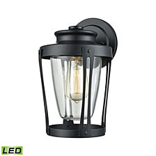 Fullerton 1 Light Outdoor Wall Sconce in Matte Black with Clear Glass