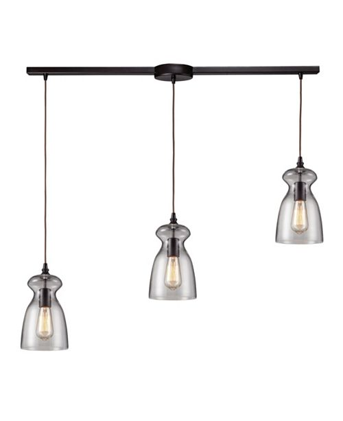 ELK Lighting Menlow Park 3-Light Linear Pendant in Oiled Bronze