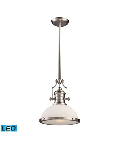 ELK Lighting Chadwick 1-Light Pendant in Satin Nickel - LED Offering Up To 800 Lumens (60 Watt Equivalent) with F