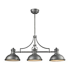Chadwick 3 Light Island in Weathered Zinc with Frosted Glass Diffusers