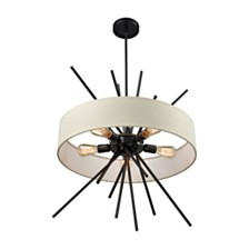 Xenia 5 Light Chandelier in Oil Rubbed Bronze with Beige Fabric Shade