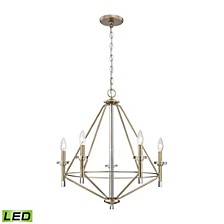 Lacombe 5 Light Chandelier in Aged Silver with Clear Glass Accents