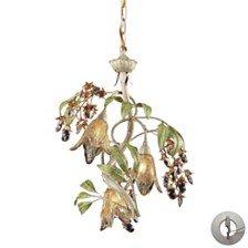 Huarco 3 Light Chandelier in Seashell and Green - Includes Adapter Kit