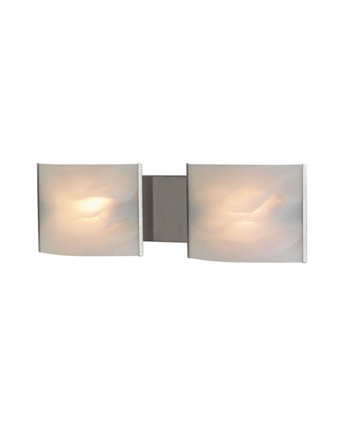 ELK Lighting Pannelli Vanity - 2 Light with Lamps. White Alabaster Glass / SS Finish