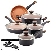 12-Piece Farberware Glide Copper Ceramic Nonstick Cookware Set (Brown/Black)