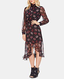 Vince Camuto Metallic Regal Stamp Floral Dress
