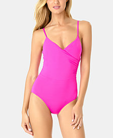 Anne Cole Live In Color Surplice One-Piece Swimsuit