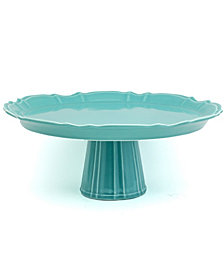EuroCeramica Chloe Turquoise Footed Cake Plate