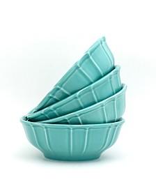 Euro Ceramica Chloe 4 Piece Turquoise Cereal Bowl Set