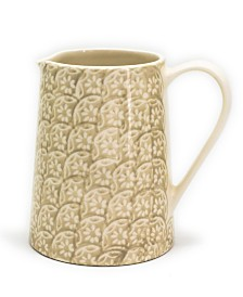 Euro Ceramica Chloe Beige Floral 2 Liter Accent Pitcher