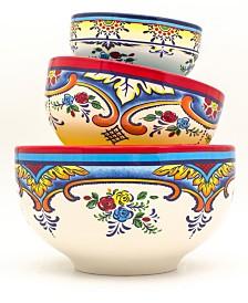 Euro Ceramica Zanzibar 3 Piece Mixing Bowl Set