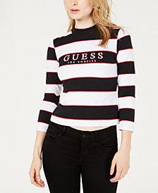 GUESS ORIGINALS 3/4-Sleeve Striped Mock-Neck Top