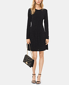 MICHAEL Michael Kors Printed Long-Sleeve Drop-Waist Dress in Regular & Petite Sizes