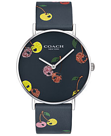 COACH Women's Perry Blue Cherry Print Leather Strap Watch 36mm Created for Macy's