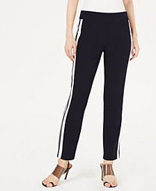 Bar III Varsity-Stripe Straight-Leg Pants, Created for Macy's