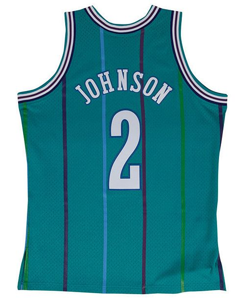 Mitchell & Ness Men's Larry Johnson Charlotte Hornets Hardwood Classic Swingman Jersey