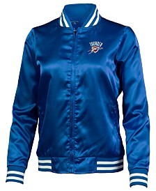 Antigua Women's Oklahoma City Thunder Strut Satin Bomber Jacket