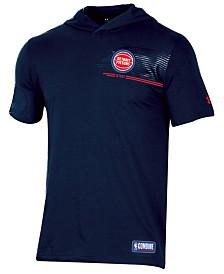 Under Armour Men's Detroit Pistons Baseline Short Sleeve Hooded T-Shirt