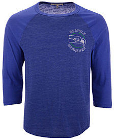 Authentic NFL Apparel Men's Seattle Seahawks End Around Three-Quarter Raglan T-Shirt