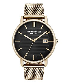 Kenneth Cole New York Men's Gold Mesh Bracelet Watch 42mm
