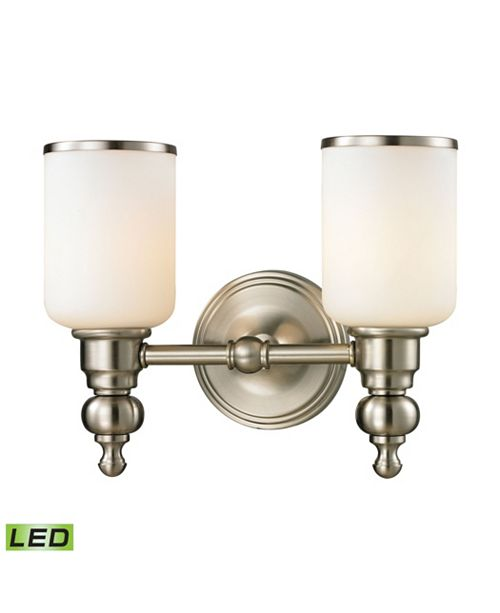 ELK Lighting Bristol Collection 2 light bath in Brushed Nickel - LED, 800 Lumens (1600 Lumens Total) with Full Scale Dimming Range