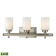 Dawson Collection 3 light bath in Brushed Nickel - LED, 800 Lumens (2400 Lumens Total) with Full Scale Dimming Range