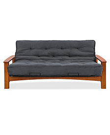 "Simmons Vancouver Vintage Oak Futon Frame With 8"" Beautyrest Pocketed Coil Innerspring Futon Mattress"