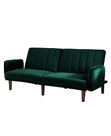 Reavis Green Vertically Tufted Flannelette Futon Sofa