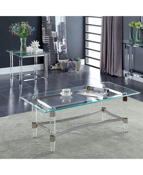 Furniture of America Jourdan Glass Top Coffee Table