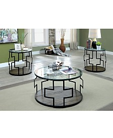 Coullier 3-Piece Geometric Glass Table Set