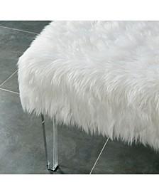 CLOSEOUT Raven I Faux Fur Acrylic Ottoman