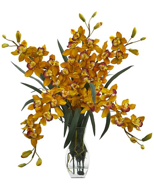 Nearly Natural Cymbidium Orchid Artificial Arrangement in Glass Vase