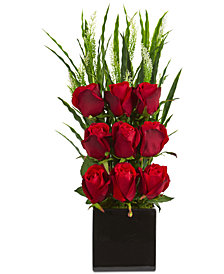 Nearly Natural Elegant Rose Artificial Arrangement in Black Vase