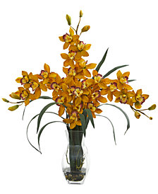 Nearly Natural Triple Orchid Cymbidium Artificial Arrangement in Vase