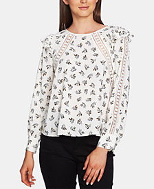 1.STATE Printed Crochet-Trim Blouse