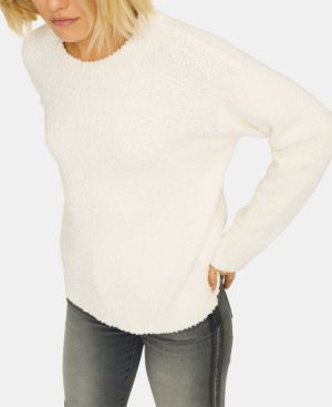 SANCTUARY Teddy Textured Knit Sweater in Winter White