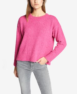 SANCTUARY Teddy Textured Knit Sweater in Street Pink
