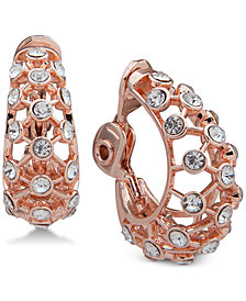 Anne Klein Crystal Openwork Clip-On Hoop Earrings
