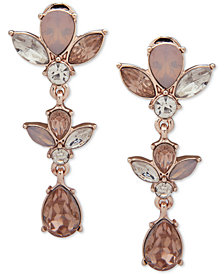 Anne Klein Rose Gold-Tone Crystal Flower E-Z Comfort Clip-On Linear Drop Earrings