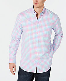 Club Room Men's Stretch Plaid Oxford Long-Sleeve Shirt, Created for Macy's