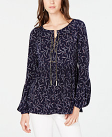MICHAEL Michael Kors Printed Chain-Neck Peplum Top, In Regular & Petite Sizes