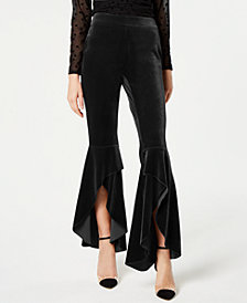 I.N.C. Velvet Slit Wide Leg Pants, Created for Macy's