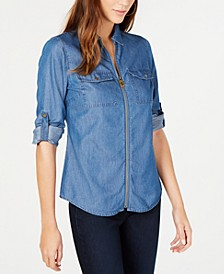 Chambray Printed Zip-Front Collared Shirt, Regular and Petite Sizes