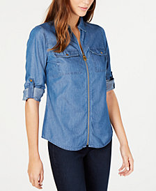 MICHAEL Michael Kors Chambray Printed Zip-Front Collared Shirt, Regular and Petite Sizes