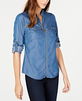 833ef9cc69ad MICHAEL Michael Kors Chambray Printed Zip-Front Collared Shirt, Regular and  Petite Sizes